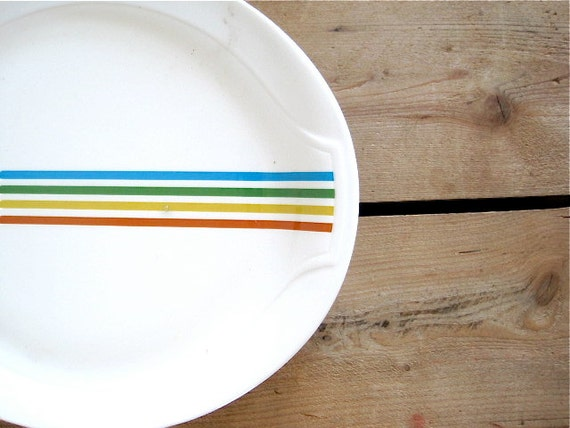 Vintage Syracuse China Rainbow Striped Spectrum Dinner Plates Restaurant Ware