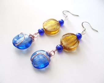 Cobalt Blue Earrings Wire Wrapped Glass