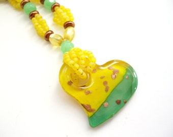 Yellow Heart Necklace, Lampwork Glass Jewelry