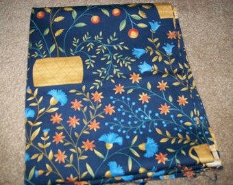 Folk Americana Fabric in Navy Print by Angela Parish for P & B Textiles2001
