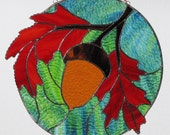 Stained Glass Suncatcher - Fall Orange Oak Leaves with Acorn Panel, Signed Original