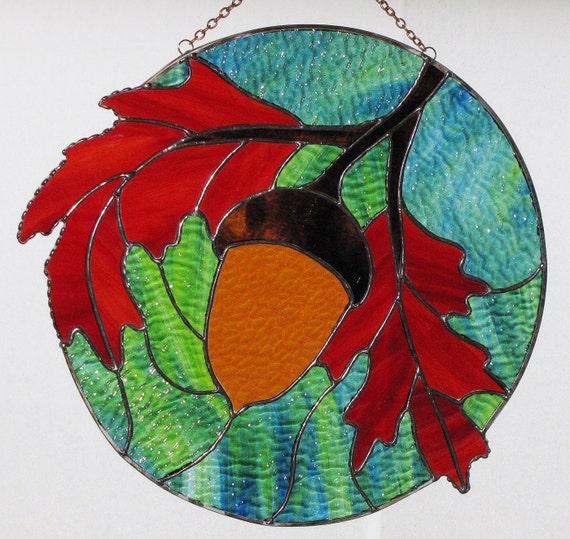 Stained Glass Suncatcher - Fall Orange Oak Leaves with Acorn Panel, Signed Original