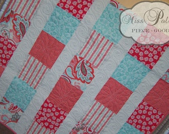 Baby Crib Bedding- Design Your Own Baby and Toddler Quilt in Fabrics You Choose-Garden Path