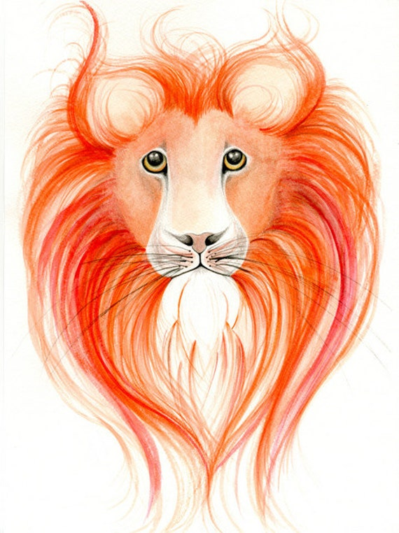 Painting Watercolor Lion Watercolor Painting an Original OOAK Lion Water Color Painting Animal Lion Orange