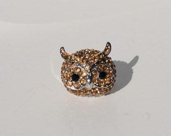 Swarovski Gold Rhinestone Owl Ring