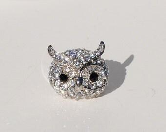 Swarovski Clear Rhinestone Owl Ring