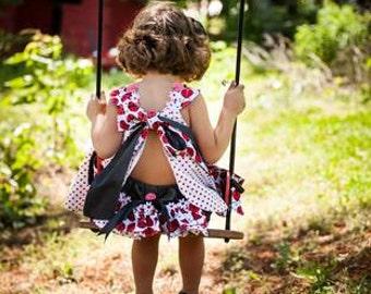Baby Girls  Ladybug smash cake Birthday dress & Ruffled Bloomers