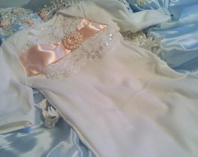 Girls Newborn Layette gown sleeper for baby girl Newborn thru 3 months Original Design by Nanajustbananas