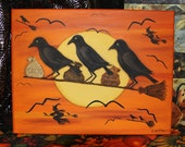 Halloween Folk Art Canvas Three Crows on a Broomstick with Tricks, Treats, Majick Potions - HAGUILD