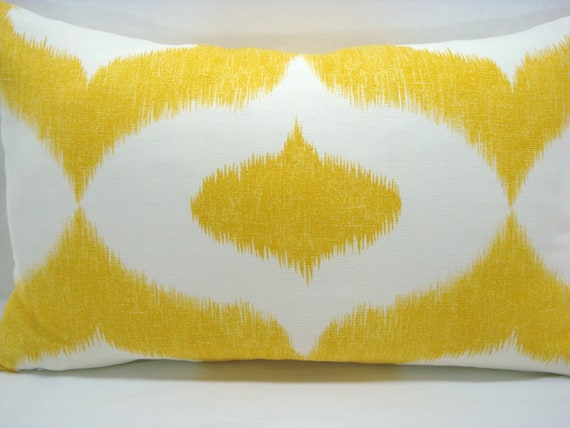 12X20 Ikat Lumbar Pillow Duralee Dalesford Yellow and White