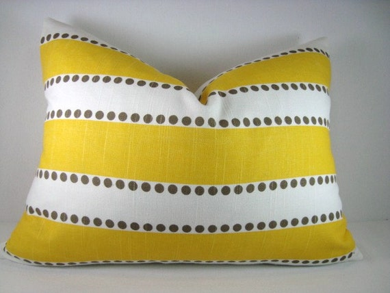Striped Yellow and White Decorative Lumbar Pillow Cover 13x18