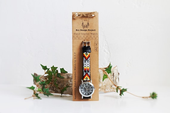 SALE for limited time. Free shipping,Native American inspired hand-beaded watch.black,leather,handmade,hippie,boho,hipster
