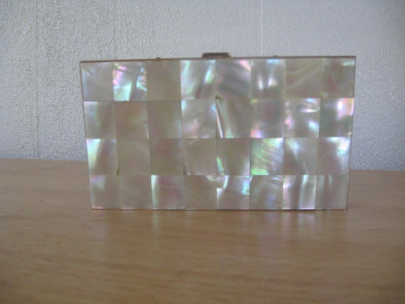 1950s Vintage Mother of Pearl Compact Evening Clutch