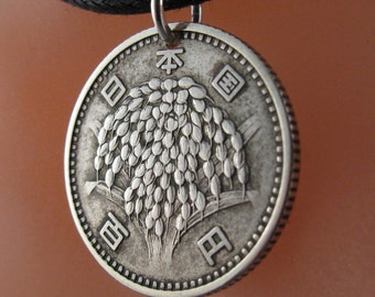 ANTIQUE COIN NECKLACE Japan. japanese jewelry pendant. silver. 100 yen. oriental. asian. rice. mens coin Cecile stewart   No.001175