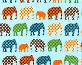 Baby Blanket, Urban Elephants in Blue and Your Choice of Bubble Dot Minky