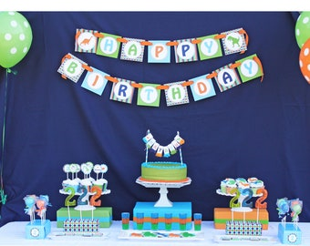 DIY Dinosaur Deluxe  Birthday Collection PRINTABLE Party Package  Banner Cupcake toppers Invitation