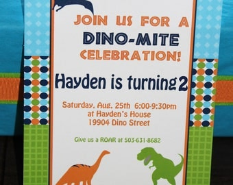 DIY Dinosaur  Birthday Party  PRINTABLE Invitation 5x7 4x6 blue green orange  need them PRINTED just ask