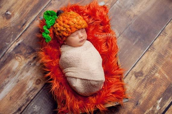 Newborn - 3 months Baby Pumpkin Hat and Faux Fur Nest Photographer Set Merino Yarn OOAK Ready to Ship Photo Prop