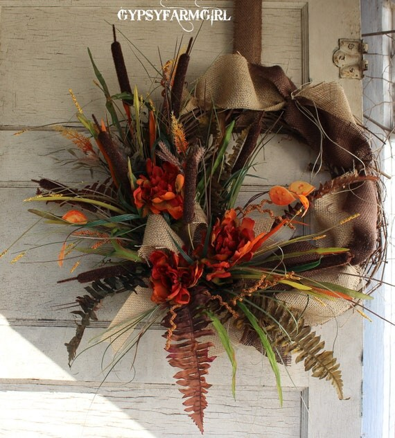Fall Grapevine Wreath with Burlap, Cattails, Peonies, and Fall Foliage