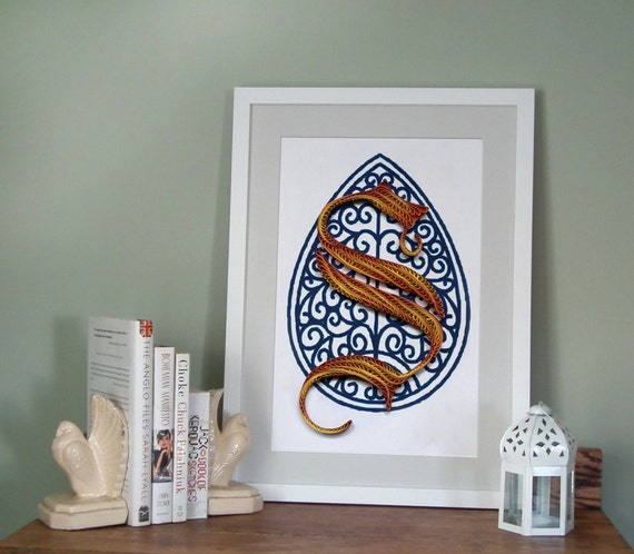 S - Monogram poster, initial Print, Quilled typography poster, Paper art print, 12x18 in, Ready to ship
