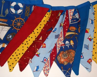 Nautical Fabric Holiday Party Banner, Bunting, Flags, Garland, Wall Decoration