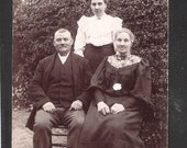 100 year old Social History Postcard mother  husband with family and daughter antique vintage postcards