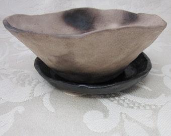 Smokefired Stoneware Bowl and Saucer