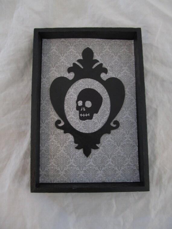 Spooky Gothic Victorian Framed Skull Wall Art Decor Shadow Box