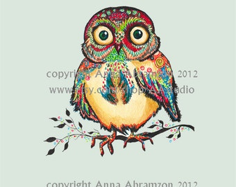 Baby Owl Nursery Art Print