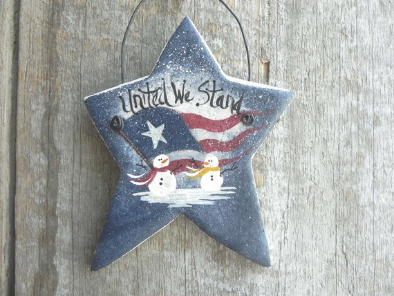 RESERVE LISTING for Renee Set of 6 Salt Dough Patriotic Star Xmas Ornament
