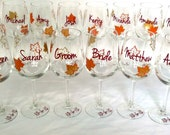 Fall wedding party wine glass, gold brown and burnt orange leaves, fall theme wine glasses, Bridesmaid gift and Groomsman gift