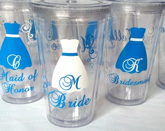 Bride and Bridesmaids Tumblers, 8 wedding party acrylic glasses with lid and straw, great for flower girl cup as well. BPA Free
