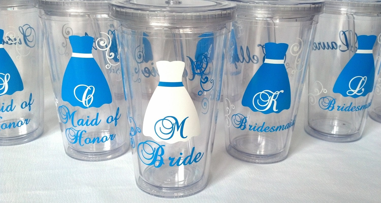 Bride And Bridesmaids Tumblers 8 Wedding Party Acrylic