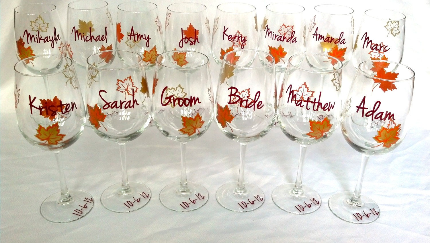fall wedding party wine glass gold brown and burnt orange
