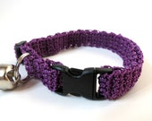 Adjustable Cat Collar Purple with Bell