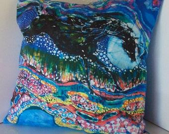 "Horse Decorative Pillow - ""Horse Born of Moon Energy"" - Throw Pillow 16.5"" x16.5"" - Batik Pillow"