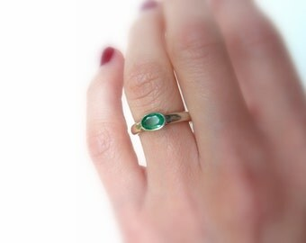 Emerald Sterling Ring