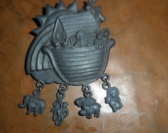 Animal Charms Noahs Ark Pewter Brooch