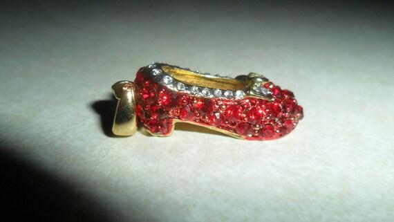 Vintage Red Slipper Crystal Slipper Charm or pendant