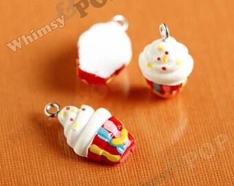 5 - Cupcake Sprinkles Kawaii Foodie Pendant Resin Charm , 22mm x 13mm (6-2E)