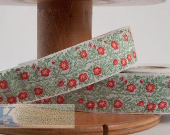 Little Dog Rose Ribbon - White/Green/Red/Yellow (1 meter, Item:100470-01-100), Made in Germany