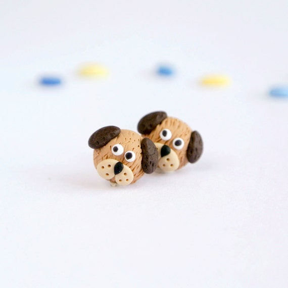 Dog Post Earrings - Cute Handmade Polymer Clay Pets - Fun animal jewelry
