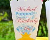 15 Personalized Popped the Question Engagement Party Popcorn Box Favors, Personalized Favors, Diamond Ring Box, Circus Theme Party, Favor