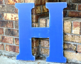 """18"""" Wooden Letter H, Classic Font in Distressed Royal Blue - all letters available in many colors"""