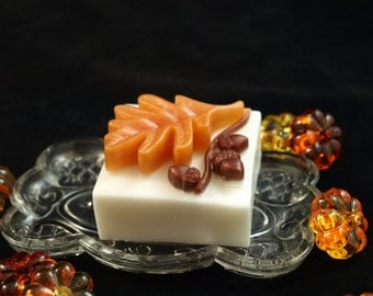 Beautiful Autumn soap with Oak leaf with acorns on top.