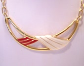 Vintage Monet Red and White Enameled Necklace N3716
