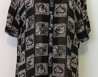 Faces Printed Button Up
