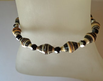 Recycled Paper Bead and Czech Glass Bracelet
