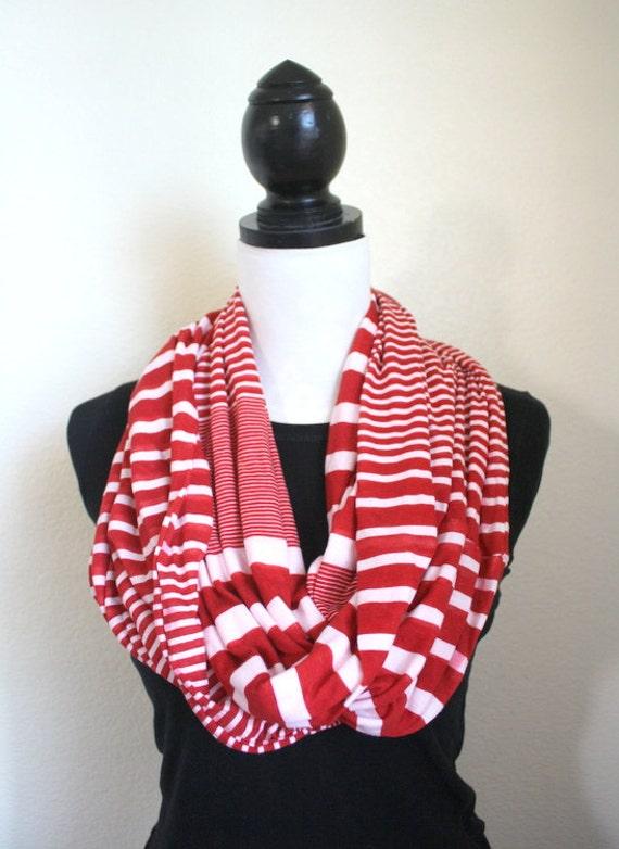 Handmade Red & White Stripes Infinity Scarf