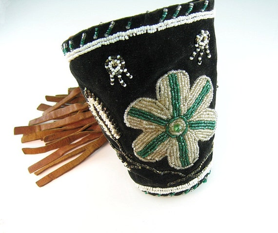 RESERVED FOR S // Western Cowgirl Beaded Cuffs with Fringe Wild West Show Parade Circus Native American Hand Beaded